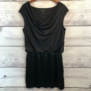 White House Black Market Silk Black Blouson Dress